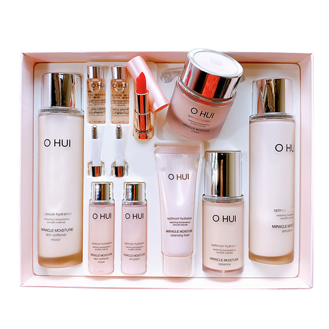 SET OHUI MIRACLE MOISTURE OPTIMUM HYDRATION #HỒNG 10SP (SET) (SET)