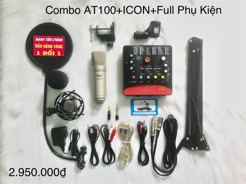 Trọn bộ combo micro ISK AT100 + Soundcard Icon Upod Pro