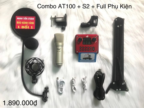COMBO MICRO THU ÂM ISK AT100 + SOUNDCARD S2 + FULL PHỤ KIỆN