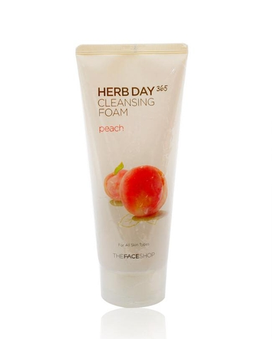 Sữa rửa mặt Đào The Face Shop Herb Day 365 Cleansing Foam Peach