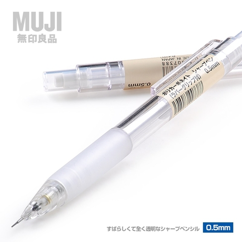 Bút chì bấm Muji mechanical pencil 0.5mm rubber grip