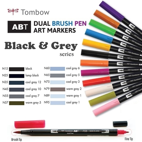Bút maker Tombow Dual Brush (Black & Grey series)