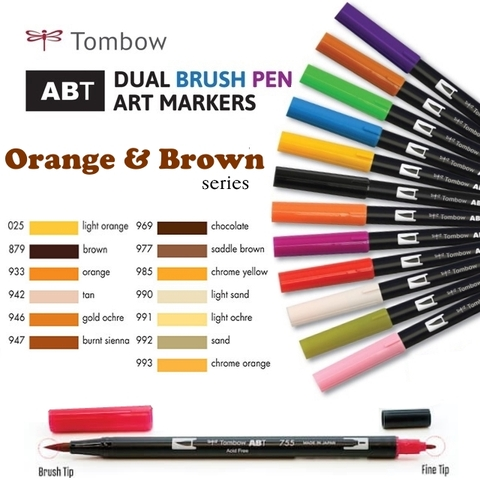 Bút maker Tombow Dual Brush (Orange & Brown series)