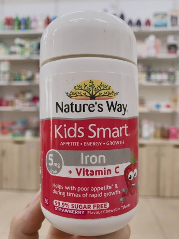 VIÊN NHAI NATURE'S WAY KIDS SMART IRON + VITAMIN C - 50 VIÊN