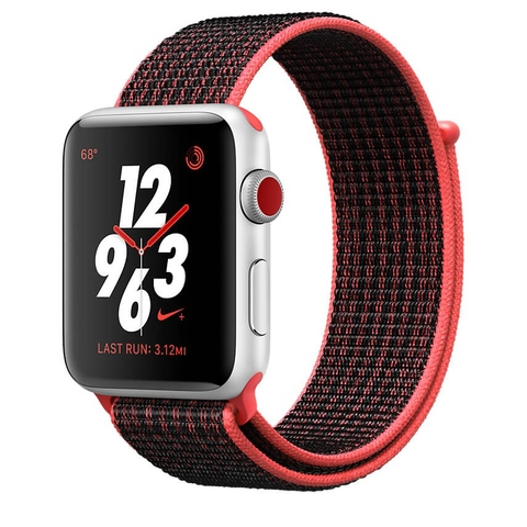 Apple Watch Series 3 GPS + Cellular 38mm - Nike+ Silver Aluminum Case with Bright Crimson-Black Nike Sport Loop