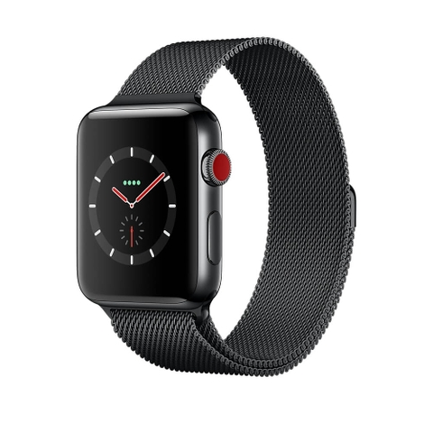 Apple Watch Series 3 Space Black Stainless Steel Case with Space Black Milanese Loop (GPS+CELLULAR) - 38mm