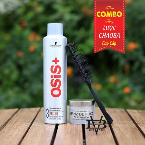 Combo Gôm Osis+ 3 Session Finish 300ml + Sáp Hanz De Fuko Claymation 56g