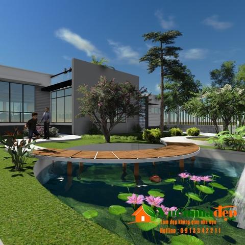 Thiết kế sân vườn biệt thự rộng, với ao sen xanh mát