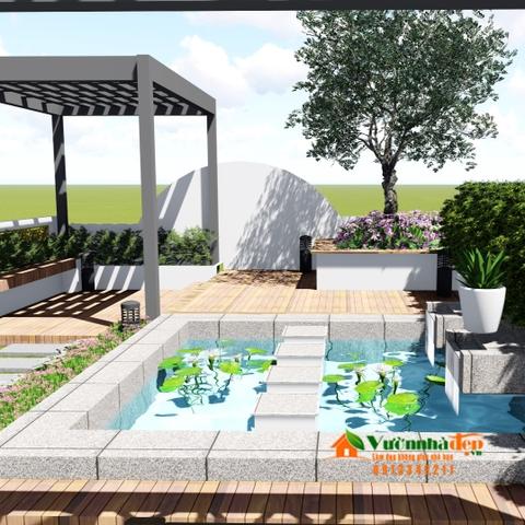 Thiết kế vườn sân thượng đơn giản mà đẹp