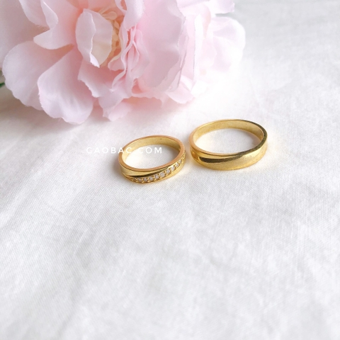Vàng tây Snow White Wedding Rings