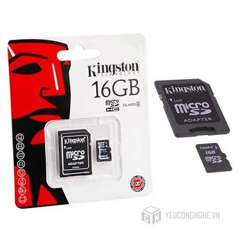 Thẻ Nhớ MicroSD Kingston 16GB Class 10 kèm Adapter