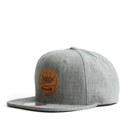 Nón Snapback PREMI3R Leather heatprinting circle P895 (Xám)
