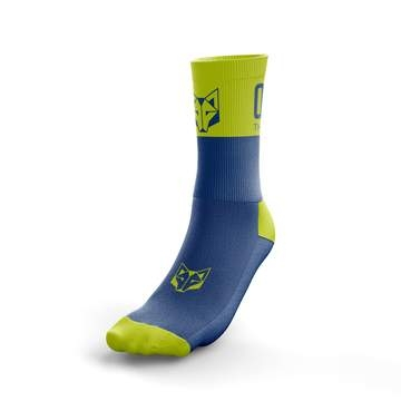 Tất Otso Multisport - ELECTRIC BLUE & FLUO YELLOW - Cổ trung (OSEb/Fym)
