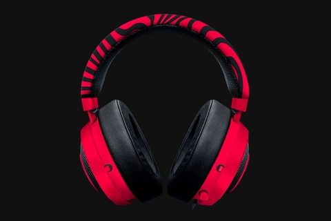 Tai nghe PewDiePie Razer Kraken Pro V2 – Analog Gaming Headset – Neon Red – Oval Ear Cushions