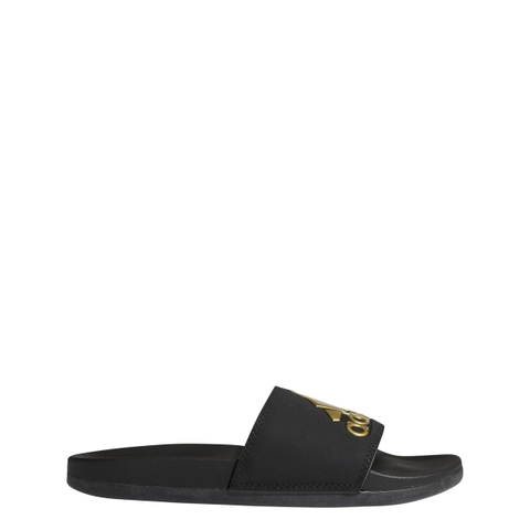 adidas Adilette Cloudfoam Plus Logo Slides Black Gold