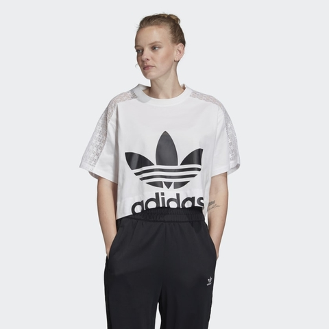 Adidas Áo Cropped Lace White Black