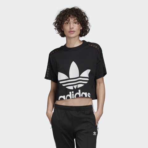 Adidas Áo Cropped Lace Black W