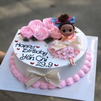 Hồng tươi -bánh kem cho bé gái