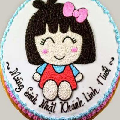 g17 bánh kem vẽ hình bé gái