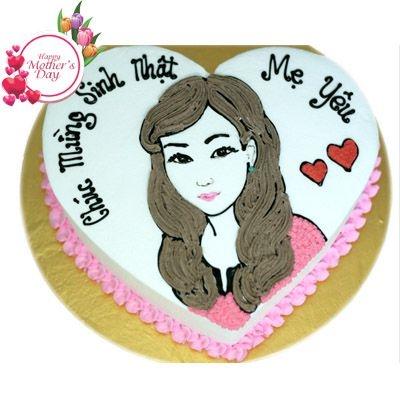 NCM32 - Bánh kem hình trái tim mừng sinh nhật mẹ yêu