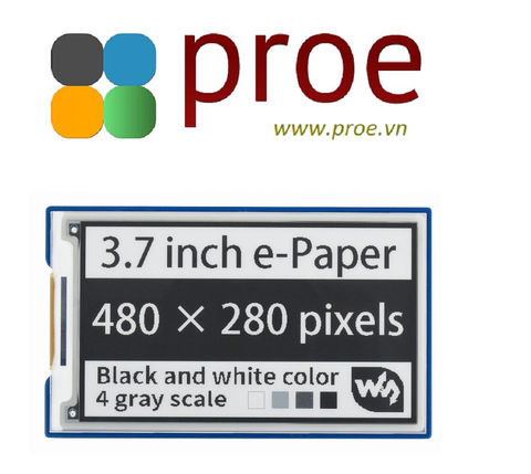 3.7inch e-Paper e-Ink Display HAT For Raspberry Pi, 480×280, Black / White, 4 Grey Scales, SPI