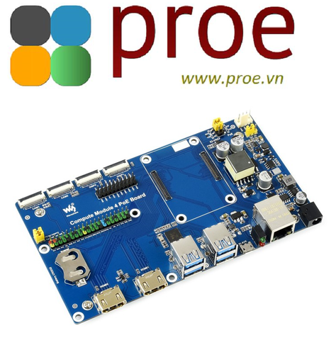 Raspberry Pi Compute Module 4 IO Board With PoE Feature, for all Variants of CM4