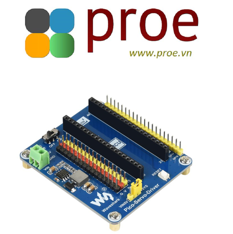 Servo Driver Module for Raspberry Pi Pico, 16-ch Outputs, 16-bit Resolution