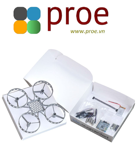 Mini drone kit with flight controller unit, motors, propellers, frame and battery