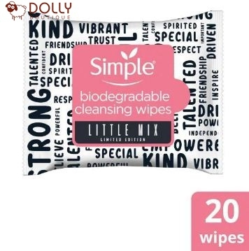 KHĂN GIẤY TẨY TRANG SIMPLE X LITTLE MIX BIODEGRADABLE FACE WIPES 20PCS