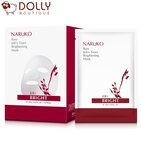 MẶT NẠ GIẤY NARUKO RAW JOB'S TEARS SUPERCRITICAL CO2 PORE MINIMIZING & BRIGHTENING MASK