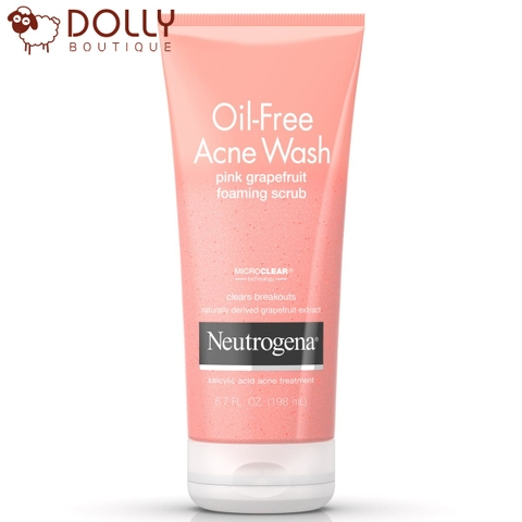 SỮA RỬA MẶT NEUTROGENA OIL-FREE ACNE WASH PINK GRAPEFRUIT FOAMING SCRUB 198ML