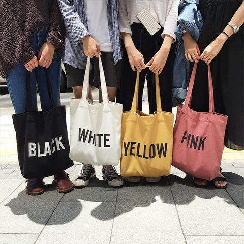 TÚI TOTE VẢI BLACK/ WHITE/ YELLOW/ PINK