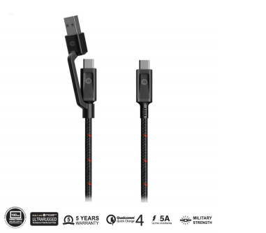 Multi-Tips Rugged.Tek.II 1.5M USB-A+USB-C to USB-C Cable