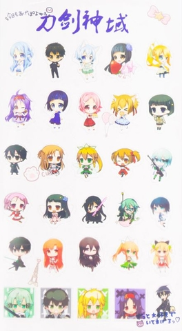 Sticker Anime trong suốt chibi - Sword Art Online [AAM] [PGN30]