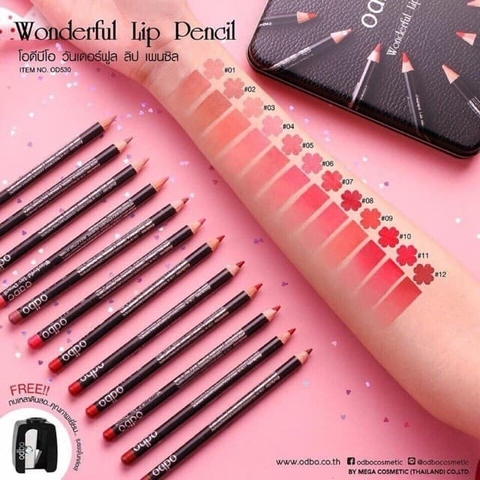 Set Son Bút Chì Odbo Wonderful Lip Pencil