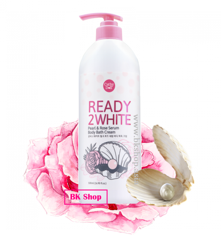 Sữa Tắm Cathy Doll Ready 2 White Pearl & Rose Serum Body Bath Cream 500ml