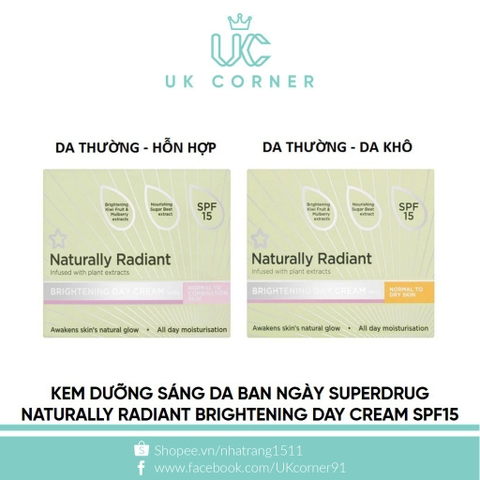 Kem dưỡng sáng da ban ngày Superdrug Naturally Radiant Brightening Day Cream SPF15 75ml