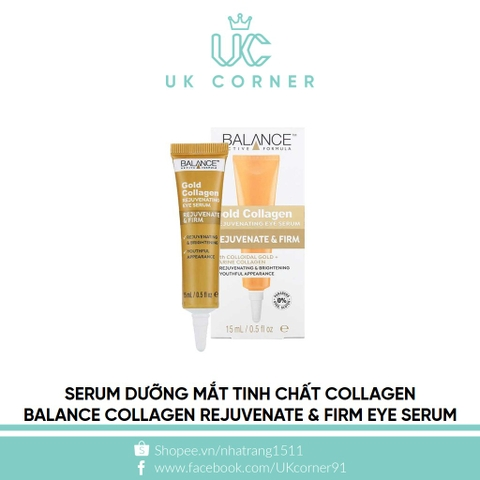 Serum dưỡng mắt tinh chất collagen Balance Gold Collagen Rejuvenate & Firm Eye Serum 15ml