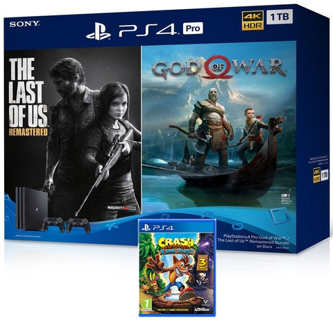 Playstation 4 Pro 1TB Bundle The Last Of Us Remastered , God of War , Crash Bandicoot N Sane Trilogy
