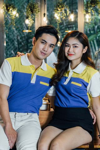 Couple Navy Blue Mixed Yellow Back Giles Form Polo