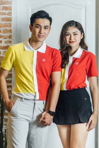 Couple White Split mix Yellow Red Block Premium Polo