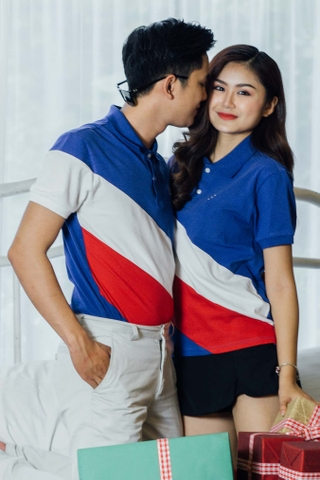 Couple Navy Blue Mixed White Red Skew Premium Polo