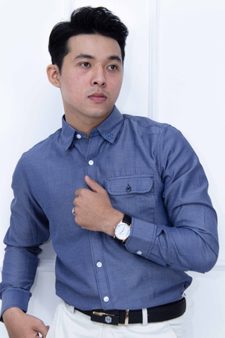 Premium Rippled Dark Blue Shirt with Pocket