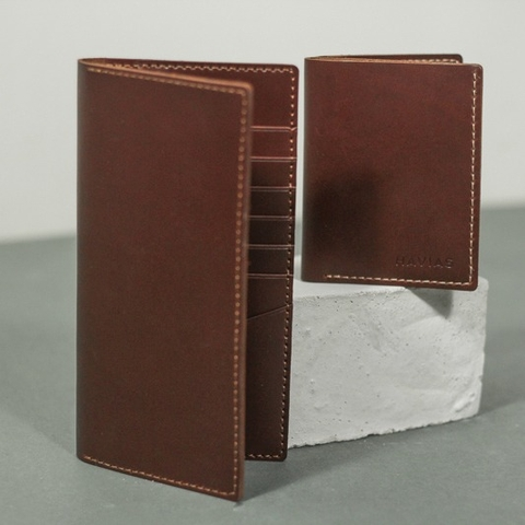 Bóp ví da thật nam nữ HAVIAS Couple Ví Venuta & Venumi Handcrafted Wallet Red Brown