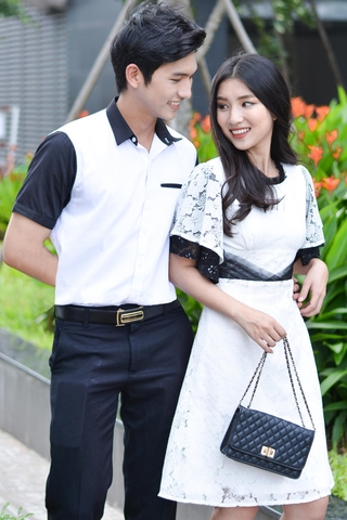 Couple White Shirt mixed Black & Classy Pleated Lace Dress
