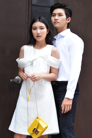 Couple Premium White Shirt & Textured Bow Tie Dress
