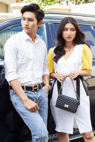 Couple Premium Scrawl Shirt & Rippled White Dress