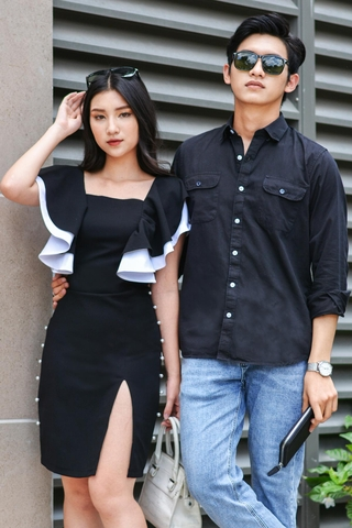 Couple Pocket Black Shirt & Pearls Line Dress