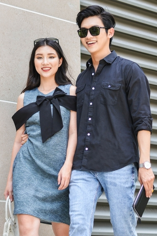 Couple Pocket Black Shirt & Textured Bow Tie Dress