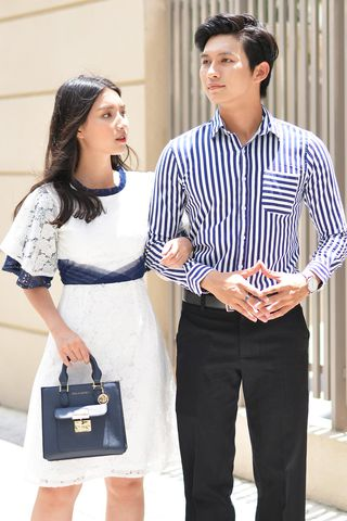 Couple Navy Striped Shirt & Classy Pleated Lace Dress